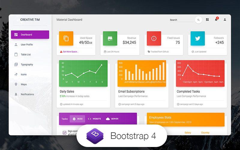 Bootstrap4製のマテリアルデザインのダッシュボード