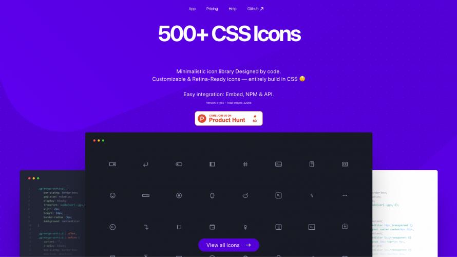 500種類以上のアイコンが無料で使えるcss.gg